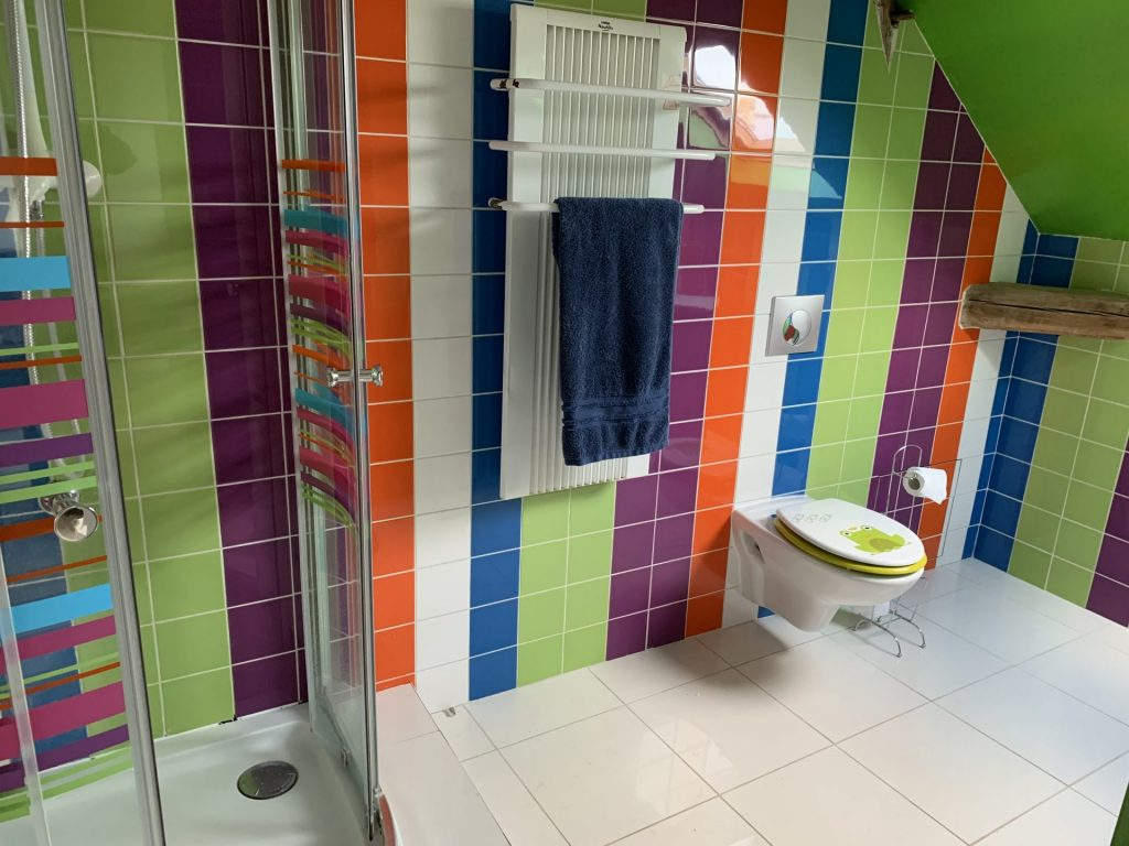 Colorful bathroom with shower and toilet